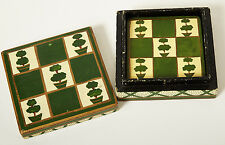 Vintage Set of 6 Painted Coasters Topiary Garden Design Wooden Box Made in India