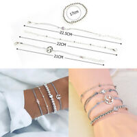 4Pcs/set Women Girls Boho Heart Beads Map Opal Bracelet Bangle Chain Jewelry