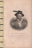 C1830 Antico Stampa ~ Sir Walter Ralegh