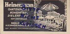 BERLIN, Werbung 1931, Heinemann Garten-Rohr-Dielen-Möbel Metall