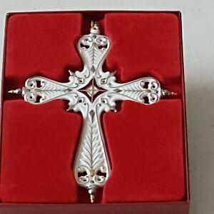Lenox Ivory Porcelain Brocade Cross Ornament