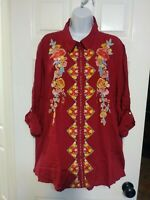 1XL PLUS SIZE ANDREE BY UNIT 3/4 ROLL TAB SLEEVE EMBROIDERED TUNIC TOP BLOUSE