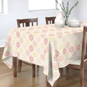 Tablecloth Havana Tile Moroccan Floral Flowers Blush Pink Coral Cotton Sateen