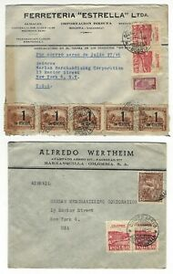 COLOMBIA, Bogota - 1946 14 vintage Air Mail stamped envelops mailed to NYC RARE