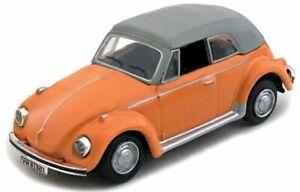 Cararama, VW Käfer Cabrio geschlossen orange, Maß. 1:72, OVP und Neu in Vitrine.