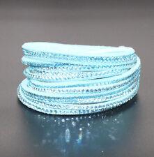 Slake Crystal Wrap Bracelet made w/ Swarovski Crystal Blue Alcantara ® Leather