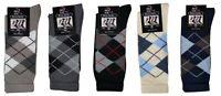 12 Pairs High Quality Mens Designer 100% Cotton Rich Argyll Dress socks Size6-11