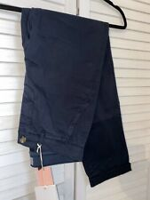 New Jigsaw Cotton Slim Leg Navy Blue Chino Trousers UK8 L29