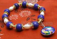 Big 10mm Blue Round Jade and White Rice Pearl Bracelet & Cloisonne pendant-br381