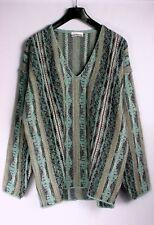 Pullover gerade geschnitten, tiefer V-Ausschnitt mehrfarbig Wolle/Alpaka Gr. 52
