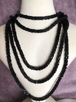 1980s Flapper Style Necklace Black Glass Beaded Rope Long Vintage Retro Beads