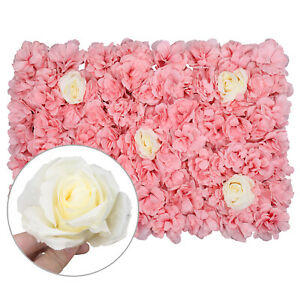 Artificial Rose Flower Wall Hydrangea Panel Bouquet Wedding Party Home Decor NEW