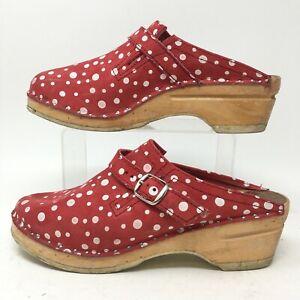 Troentorps Polka Dot Buckle Mule Clog Womens 39 Red Suede Slip On Comfort Shoes