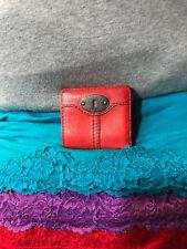 Handbag Fossil Marlow Pebble Leather Red Bi-Fold Photo Credit Card Snap Wallet