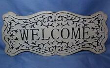 "Welcome Sign New Large White Metal Welcome Sign 20"" Filigree Rustic Shabby Chic"