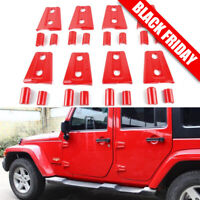 8PCS Red Door Hinge Cover Trims For 2007-2017 Jeep JK Wrangler Unlimited 4Door