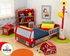 Fire Truck Bed Kids Toddler Youth Boys Fireman Bunk Play Toy Bedroom Furniture