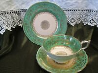 RARE ANTIQUE PARAGON CHINA GREEN AND GOLD CABINET TRIO EXCELLENT CONDITION