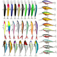 Minnow Fishing lures Kit Hard Bait bass Crankbait Frog Lures with Treble hooks
