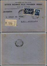 REPUBBLICA-5 L Democratica+50 L Biennale(555+597)-Raccomandata Teramo 28.4.1949