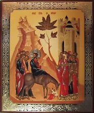 Jesus Triumphant Entry into Jerusalem - Russian Icon - Palm Sunday Artwork