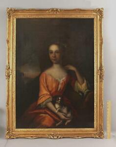 Large Antique 18thC Portrait Oil Painting of Wealthy Woman & Lap Dog, NR