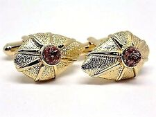 Vintage, 1960's Red/Gold Glitter Glass Dome Cufflinks, Gift Boxed!