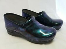 New DANSKO Women's XP 20 Marble Blue Patent Leather Clogs Size 38 7.5