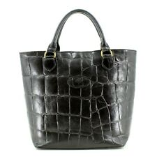 Authentic Mulberry Congo Leather Croc Print Tote Bag in Black