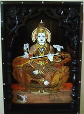 Wall Hanging Hindu Goddess Saraswati Wooden Panel Sculpture Sarasvati Devi Statu