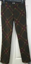 ETRO Olive Green & Multi Colour Check Wool Blend Slim Fit Trousers Pants 40 UK8