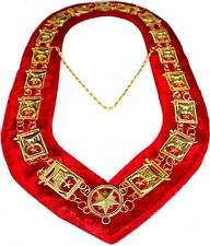 REGALIA MASONIC Shriners Dress GOLD METAL CHAIN COLLAR RED VELVET ~~~~~