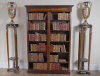 Mahogany  Bookcase - Double English Sheraton Inlay Open Front