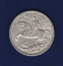 GREAT BRITAIN / ENGLAND GEORGE V  1935 1 CROWN SILVER COIN, ALMOST UNCIRCULATED