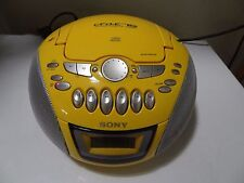Sony CFD E75 CD Radio Cassette Tape Yellow Portable Boom Box with Power Cord