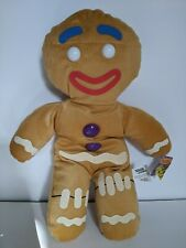 "Gingy Gingerbread Man Shrek The Third 17"" Plush Doll Toy Brown Plastic Buttons"