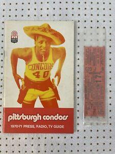 1970-71 Pittsburgh Condors ABA Press/Media Guide RARE w/TICKET