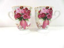 Set of 2 New Mugs Tea Coffee Drinks Mug Vintage Style Floral Printed  BG018