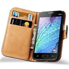 For Samsung Galaxy J1 2015 Genuine Real Leather Wallet Stand Case Cover Pouch