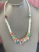 Vintage Bohemian Beaded multi Strand White Moo Shell Seed Bead Necklace 18""