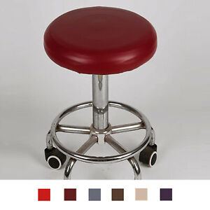 Round Bar Stool Cover Watedrproof PU Leather 18-33cm Chair Seat Slipcover, Can