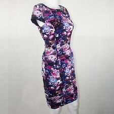 Cache Ladies Gathered Body Con Short Sleeve Dress 3D Floral Print Size Size 2