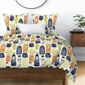 Halloween Night Spooky Halloween Candy Trick R Sateen Duvet Cover by Roostery