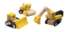 NEW PlanToys Wooden Road Construction Set, PlanCity toy trucks vehicles