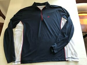 Orvis Mens XXL Cotton Blend 1/4 Zip Pullover Shirt Navy W/White Long Sleeve TS9
