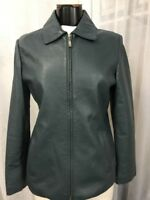 Les Jours Women's Jacket Green Genuine Leather Fully Lined Size Medium