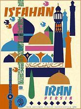 Isfahan Iran Persia Persian Arabian Vintage Travel Advertisement Art Poster