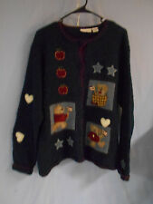 UGLY  SWEATER CARDIGAN TEACHER USA BEARS RED WHITE BLUE LARGE