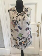 Women's Moschino Silk Top With Pearl Neckline UK Size 12
