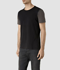 All Saints Auster Relax Fit Contrast Sleeves Raw Cut Crew Neck T-Shirt  L Large